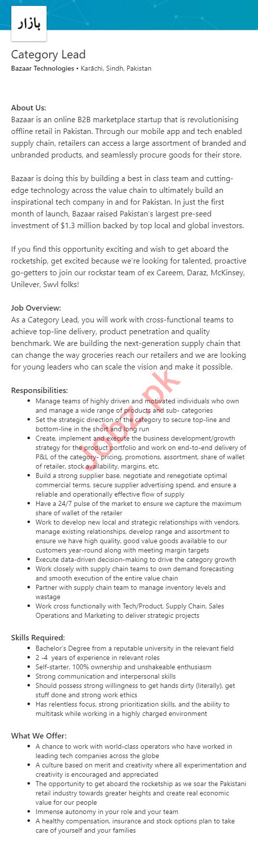 Bazaar Technologies Karachi Jobs 2020 for Category Lead