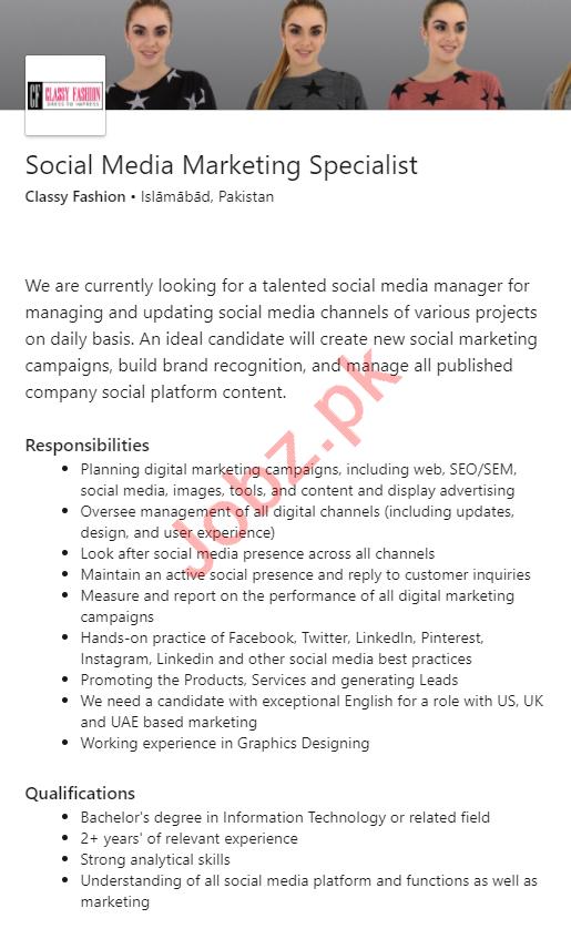 Classy Fashion Islamabad Jobs Social Media Marketing Expert