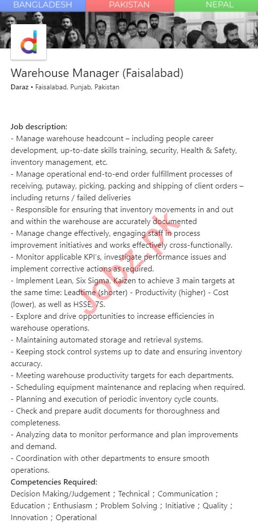 Daraz Faisalabad Jobs 2020 for Warehouse Manager