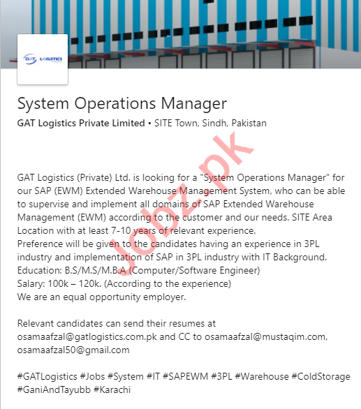 GAT Logistics Pakistan Jobs 2020 System Operations Manager
