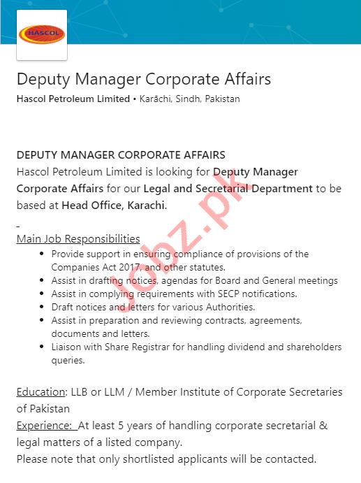 Hascol Petroleum Karachi Jobs 2020 for Deputy Manager