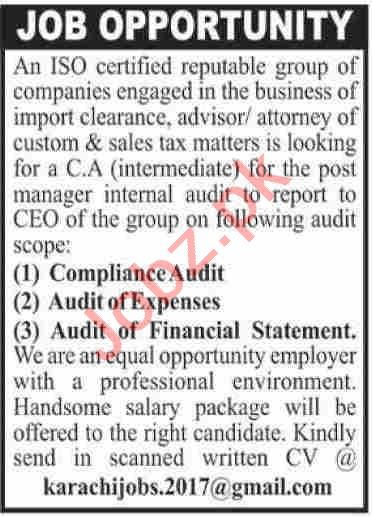 Legal Advisor & Sales Tax Advisor Jobs 2020 in Karachi