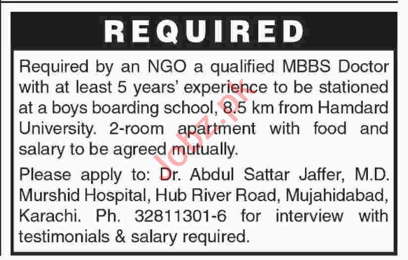 MBBS Doctor Jobs 2020 in Murshid Hospital Karachi