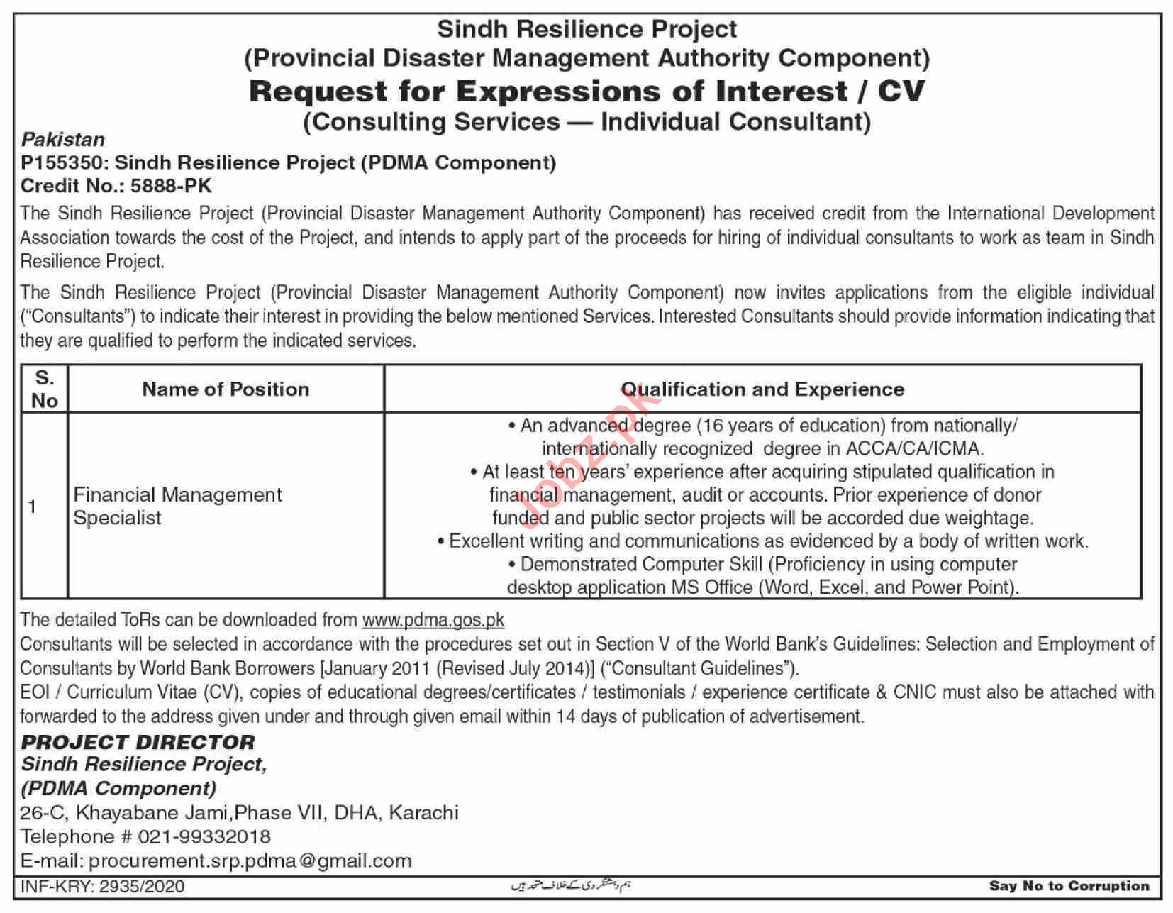 PDMA Sindh Jobs 2020 for Financial Management Specialist