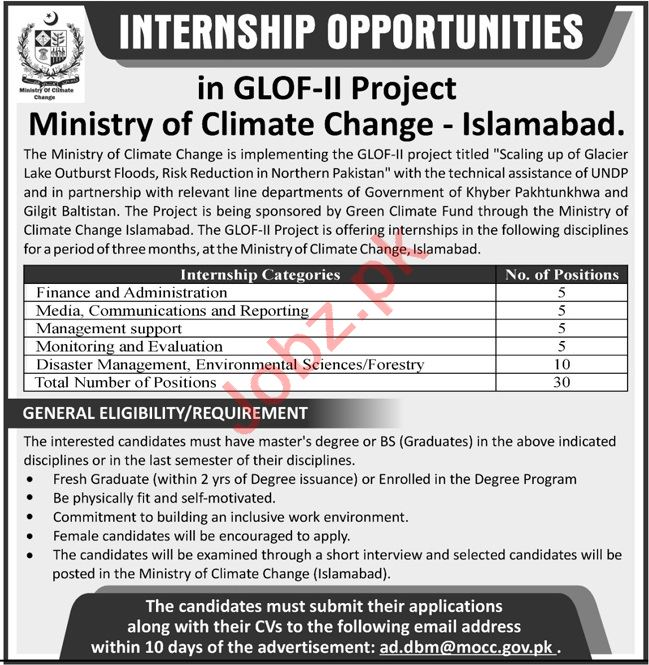 Ministry of Climate Change Islamabad Internship 2020