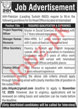 IHH Pakistan Jobs 2020 for Project Reporting Officer