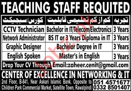 Center of Excellence in Networking & IT Rawalpindi Jobs 2020