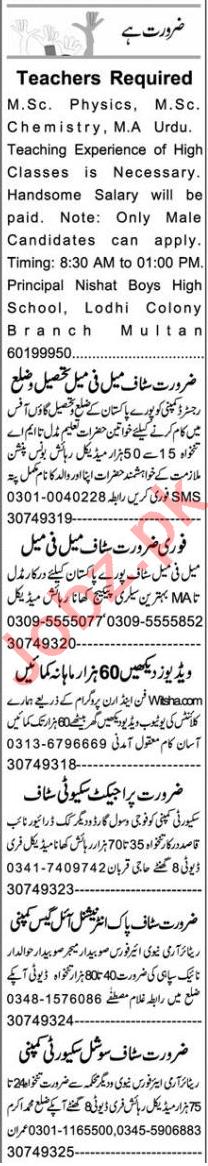 Business Manager & Teacher Jobs 2020 in Multan