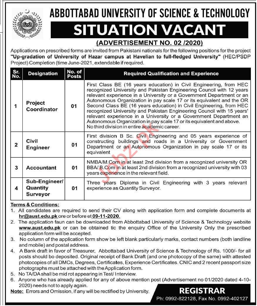 Abbottabad University AUST Jobs 2020 Engineer & Coordinator