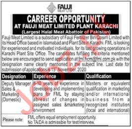 Fauji Meat Limited FML Karachi Jobs 2020 for Manager
