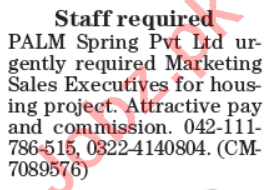 Sales & Marketing Executive Jobs 2020 in PALM Spring Lahore