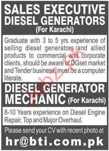 Sales Executive & Diesel Generator Mechanic Jobs 2020