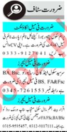 Female Accountant & Teacher Jobs 2020 in Peshawar