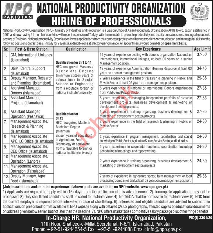 National Productivity Organization NPO Pakistan Jobs 2020