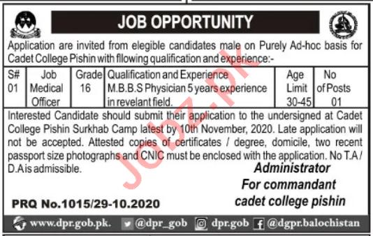 Cadet College Pishin Jobs 2020 for Medical Officer