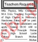 Teaching Staff Jobs Career Opportunity in Multan