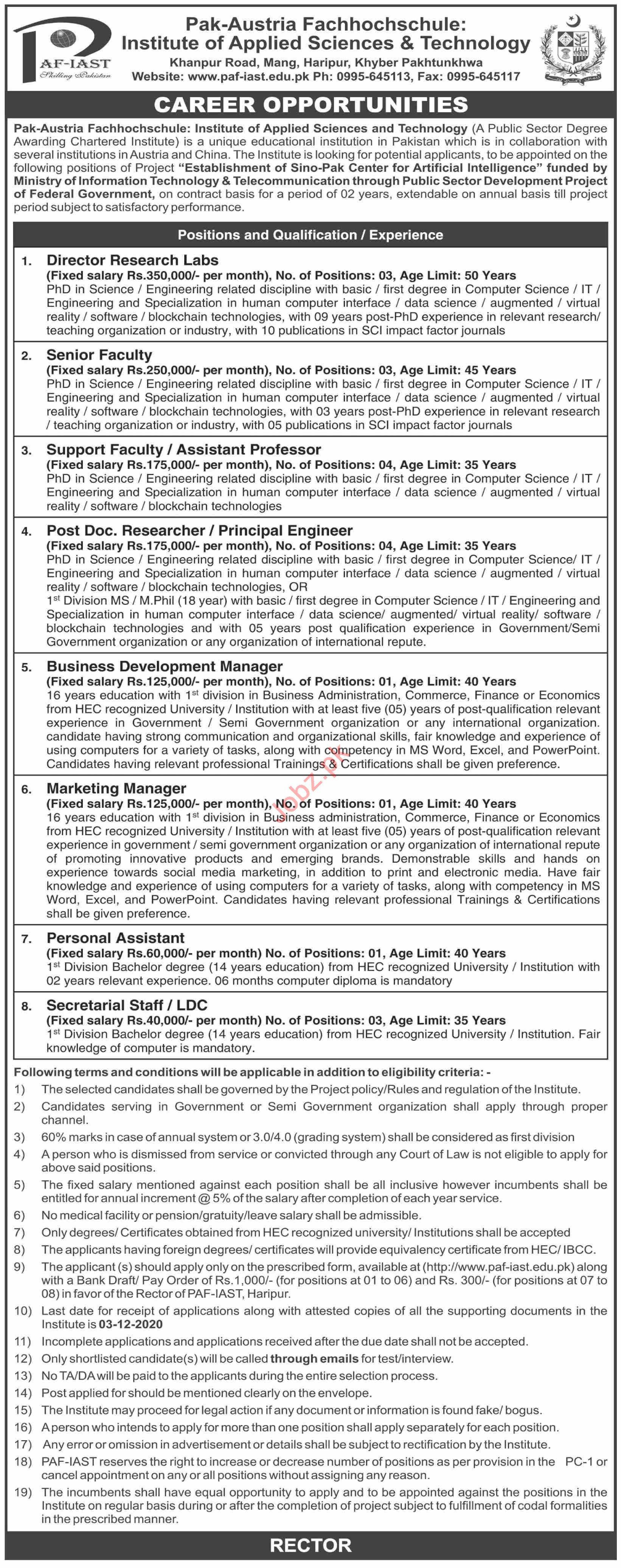Pak Austria Fachhochschule Institute PAF IAST Jobs 2020