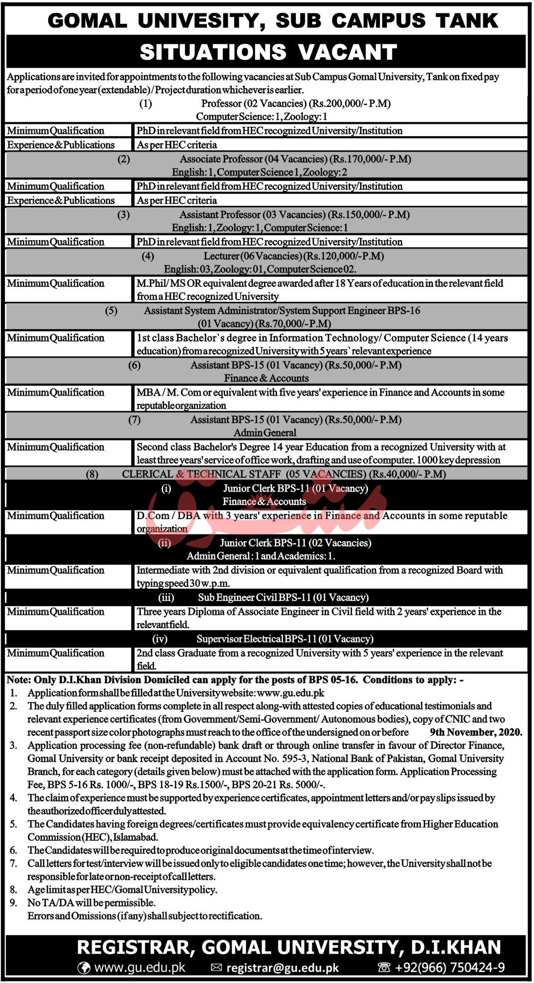 Gomal University Tank Campus Jobs 2020