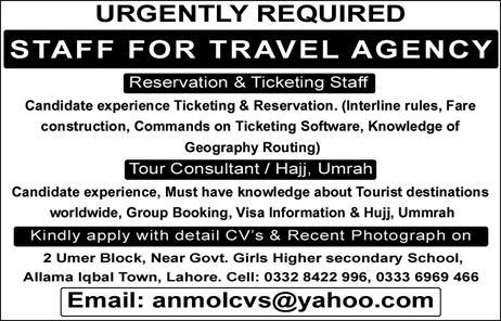 Travel Agency Jobs 2020 For Management Staff