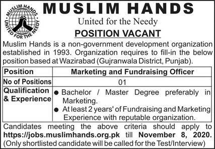 Muslim Hands NGO Jobs 2020 in Wazirabad