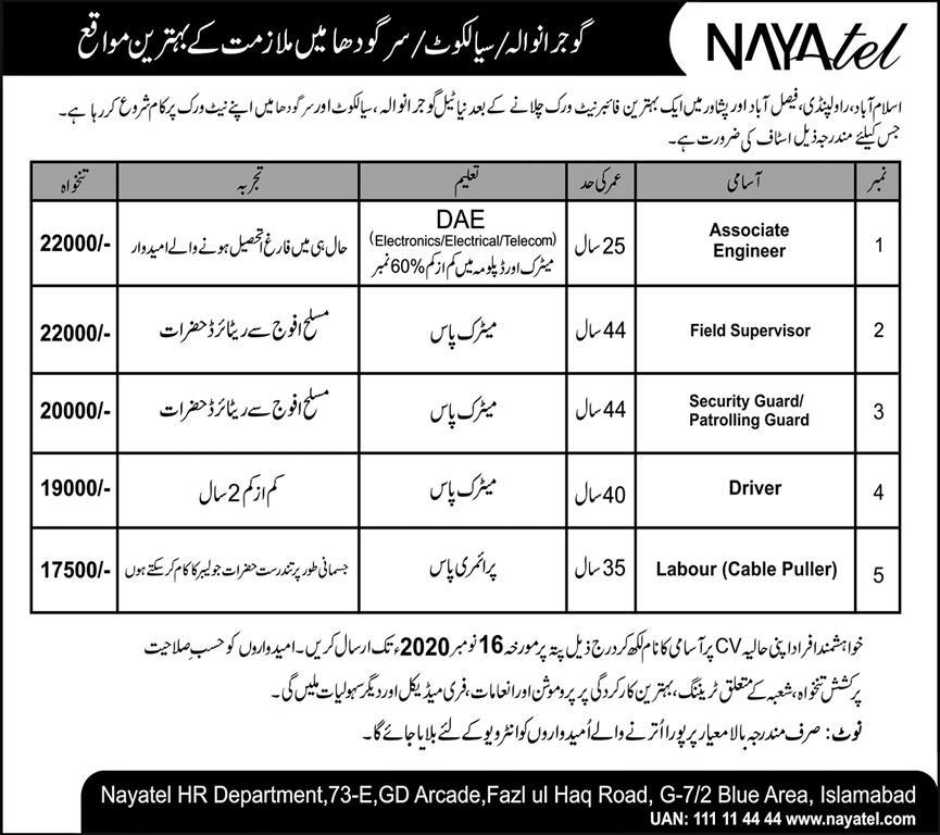 Nayatel Private Limited Technical Staff Jobs 2020