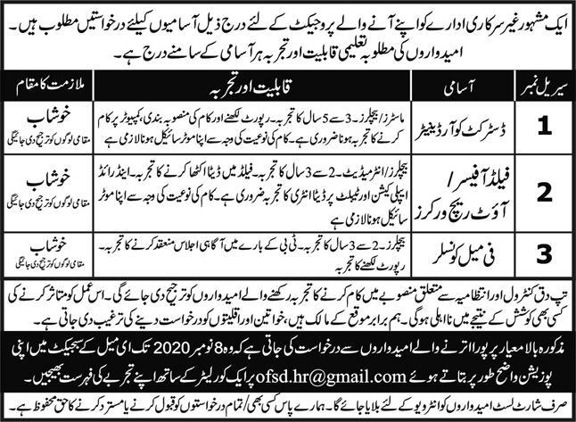 Non Governmental Organization NGO Jobs in Khushab