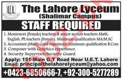 Montessori Teacher & Accountant Jobs in The Lahore Lyceum