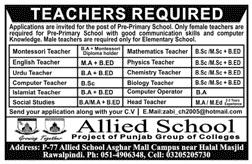 Allied School Jobs 2020 For Teaching Staff in Rawalpindi