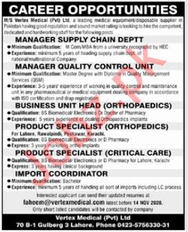 Vertex Medical Lahore Jobs 2020 for Manager Supply Chain