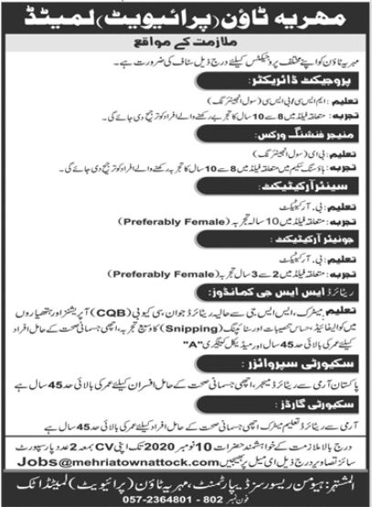 Bahria Town Jobs 2020 For Management Staff in Attock