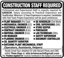 Construction Staff Jobs 2020 in Karachi