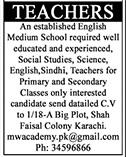 English Medium School Jobs For Teaching Staff in Karachi