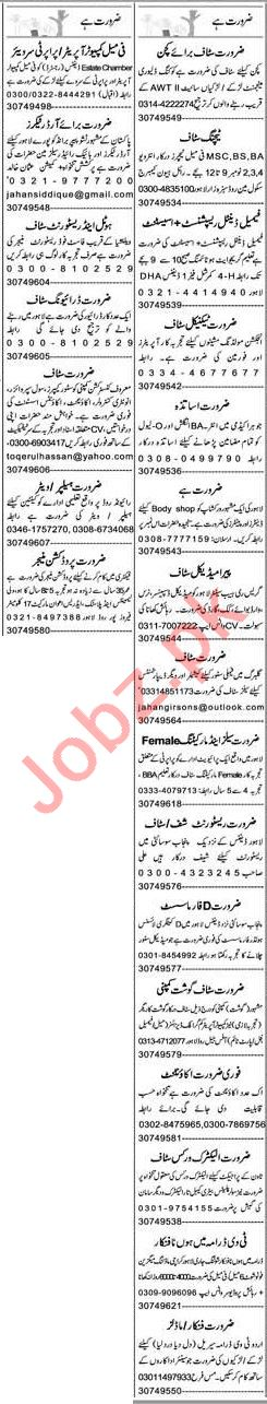 Express Sunday Lahore Classified Ads 1st Nov 2020