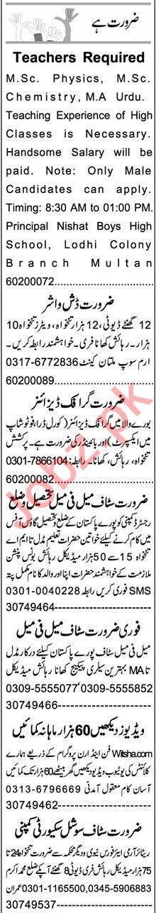 Express Sunday Multan Classified Ads 1st Nov 2020