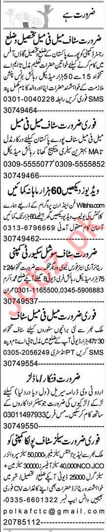 Express Sunday Rahim Yar Khan Classified Ads 1st Nov 2020