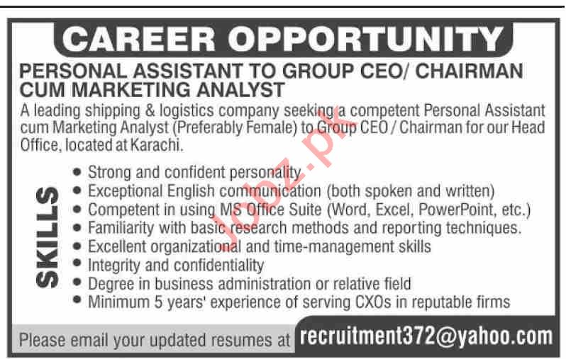 Personal Assistant & Marketing Analyst Jobs 2020 in Karachi