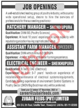 Zubair Feeds Rawalpindi Jobs 2020 for Hatchery Manager