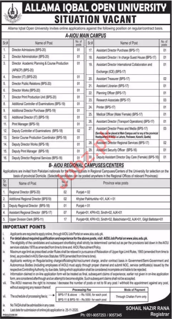 AIOU Islamabad Jobs 2020 for Director & Additional Director