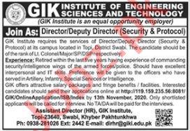 GIK Institute of Engineering Sciences & Technology Swabi Job