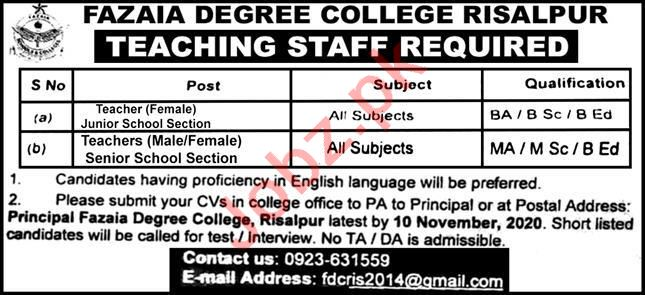 Fazaia Degree College Risalpur Jobs 2020 for Teachers
