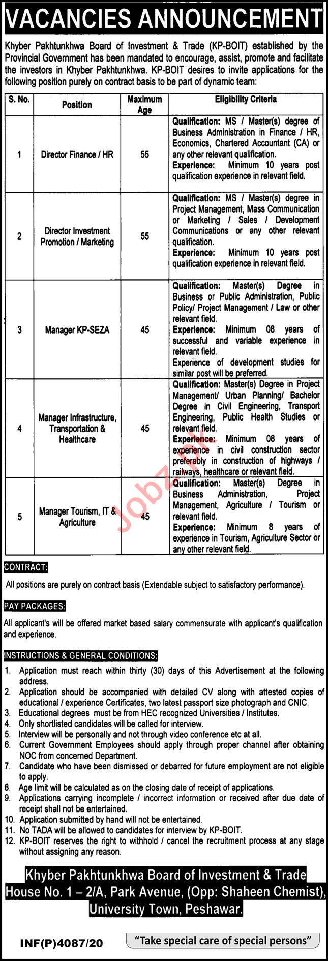KP BOIT Board of Investment & Trade Peshawar Jobs 2020