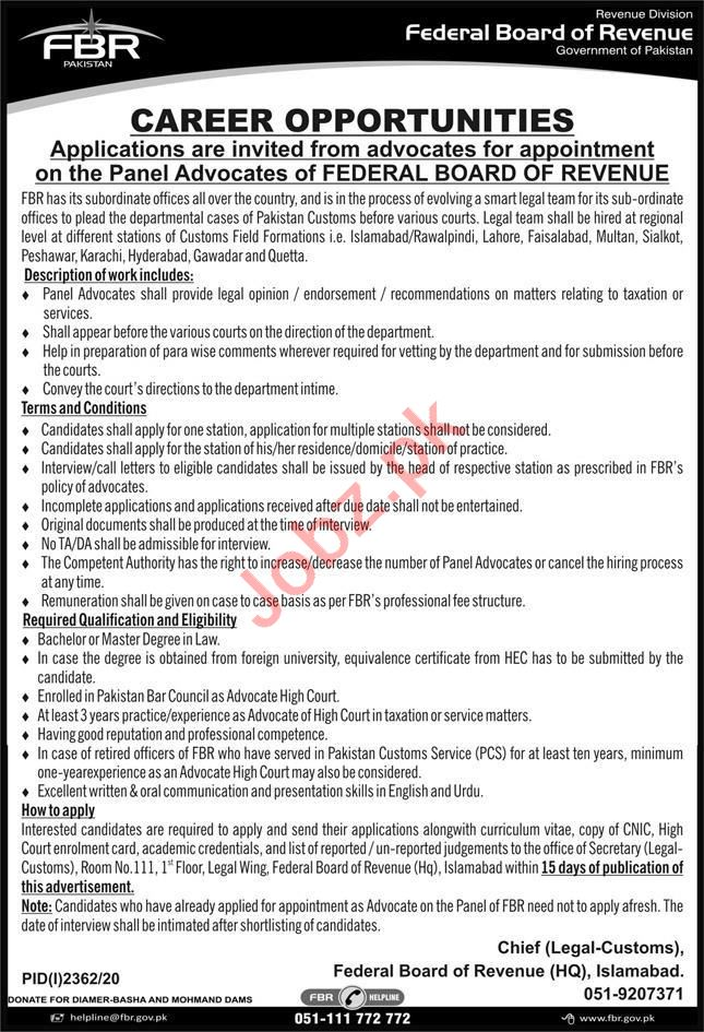 Federal Board of Revenue FBR Islamabad Jobs 2020 for Lawyer