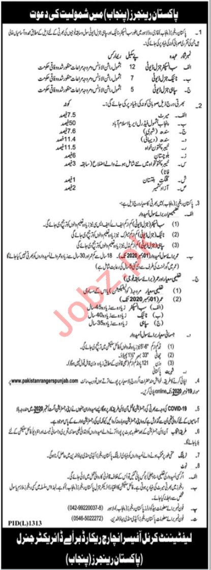 Pakistan Rangers Punjab Jobs 2020 for Sub Inspector