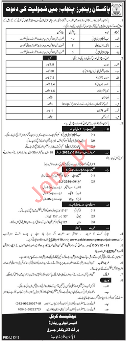 Sub Inspector & Sepoy Jobs 2020 in Pakistan Rangers Punjab