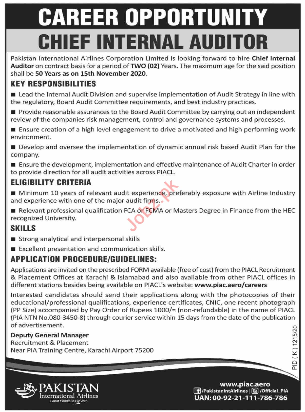 Pakistan International Airlines PIA Jobs 2020 for Auditor