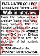 Fazaia Inter College FIC Peshawar Cantt Jobs Interview 2020