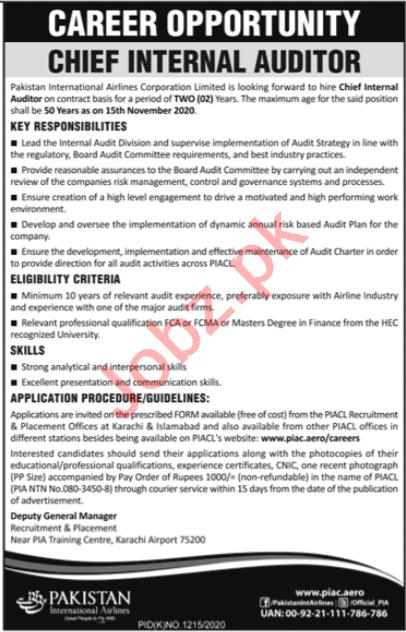 PIA Karachi Jobs 2020 for Chief Internal Auditor