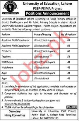 University of Education PSSP PEIMA Project Lahore Jobs 2020