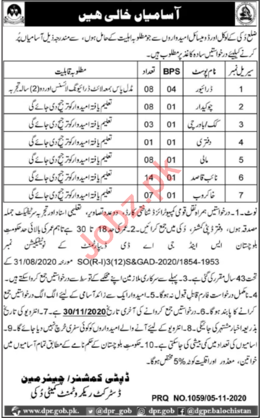 District Recruitment Committee Duki Balochistan Jobs2020