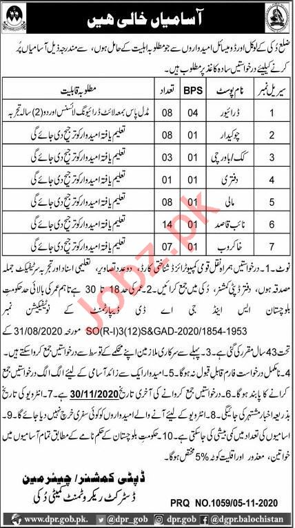 Deputy Commissioner DC Duki Job 2020 for Driver & Chowkidar